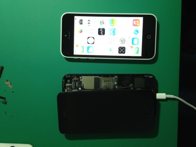 iphone5 水没修理後データ復元作業
