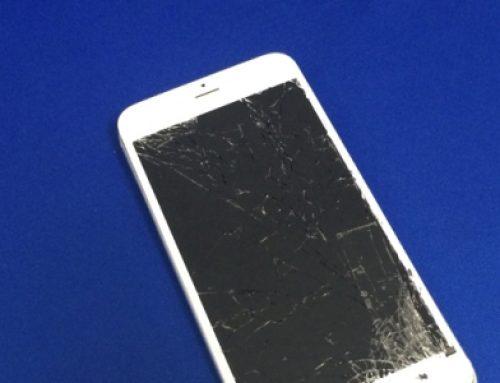 落下して割れてしまったiPhone6 Plus ホワイトのガラス交換