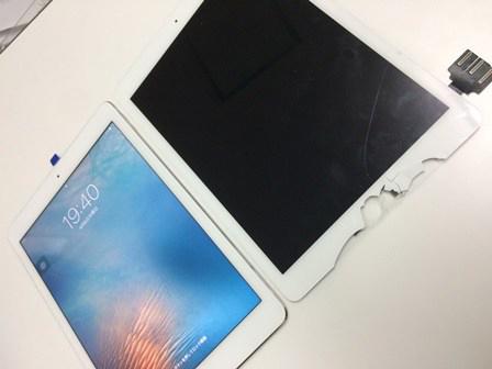 iPad Pro 9.7インチを落としてしまいガラスが割れてしまった。ガラス修理交換
