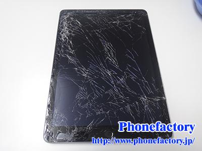 iPad 5世代 ガラス交換修理 -かばんを派手に落とした時の衝撃でガラスが割れたらしい